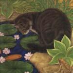 Gato y flores - JPEG, 150x150 pixels, 22 KB